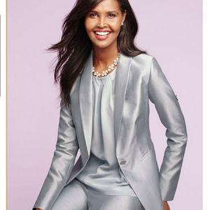 Talbots NWT silver gray blazer. Size 12P